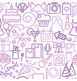 seamless background with linear birthday symbols vector image vector image