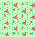 seamless floral pattern with pink tulip flowers vector image vector image