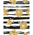 Seamless pattern with gold flowers on the striped vector image