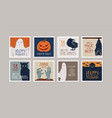 set different hand drawn halloween greeting vector image