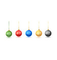 set glitter christmas ball hanging christmas vector image vector image