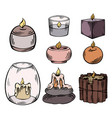 set relax candles colorful sketch vector image vector image