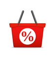 Shopping Basket with Percent Sign vector image