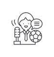 sports commentator line icon concept sports vector image vector image