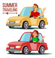 summer travelling by car male female vector image vector image