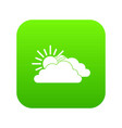 sun and cloud icon digital green vector image