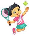 tennis girl jump smash vector image vector image