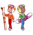 Two boys with skis and snowboard in ski suits vector image