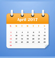 usa calendar for april 2017 vector image vector image