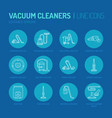 vacuum cleaners flat line icons different vacuums vector image