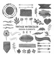 Vintage watercolor design elements set