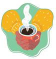 woman hands holding mug hot drink vector image vector image