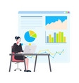 woman working on computer board with data charts vector image vector image