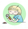 Cute doodle girl with cup of tea and donut vector image