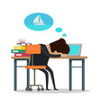 man thinking about yachting vector image