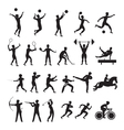 Sports Athletes Men Symbol Silhouette Set vector image