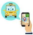 a person orders a taxi through a mobile vector image