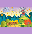 autumn landscape windmill and cloud vector image vector image
