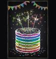birthday invitation card birthday cake with vector image
