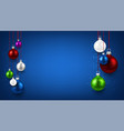 blue background with colorful christmas balls vector image vector image