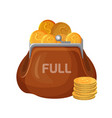 brown leather wallet icon full of coins vector image vector image