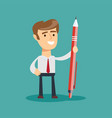 business man holding a giant pen vector image