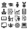 education icons college and school study set vector image vector image