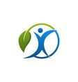 green leaf human business logo design vector image vector image