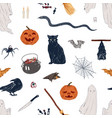 hand drawn halloween symbol seamless pattern vector image vector image