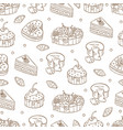 hand drawn seamless pattern with cakes vector image