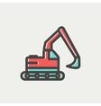 Hydraulic excavator truck thin line icon vector image vector image
