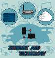 internet and technology flat concept icons vector image vector image