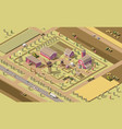 isometric low poly farm vector image vector image