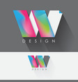 letter w colorful design element for business vector image