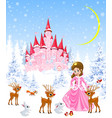 little princess and deer vector image