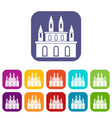 medieval castle icons set flat vector image vector image