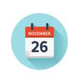 november 26 flat daily calendar icon date vector image vector image