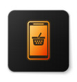 orange glowing mobile phone and shopping basket vector image vector image