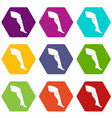 plastic surgery of legs icon set color hexahedron vector image vector image