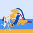pool party in water park with slides vector image vector image