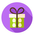 Present Box with Easter Eggs Circle Icon vector image
