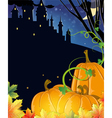 Pumpkins near the old haunted castle vector image