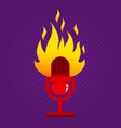 retro microphone in fire vector image