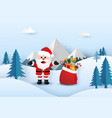 santa claus with christmas gifts bag in forest vector image