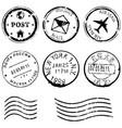 set black postal stamps vector image vector image