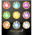 set colored crystals vector image