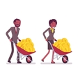 Set of office workers pushing a wheelbarrow with vector image vector image