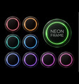 shiny banner set colorful neon light circle frame vector image vector image