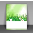 template booklet with grass and green leaves vector image vector image