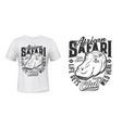 tshirt print with hippo mascot for african safari vector image vector image